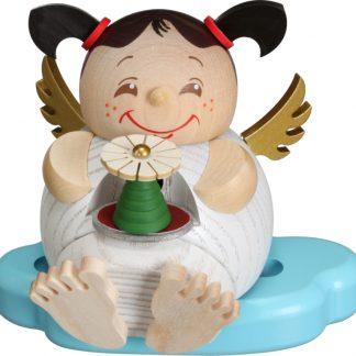 Kugelräucherfigur Engel mit Erzgebirgspyramide-0