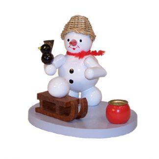 Kerzenhalter Schneemann mit Schlitten-0