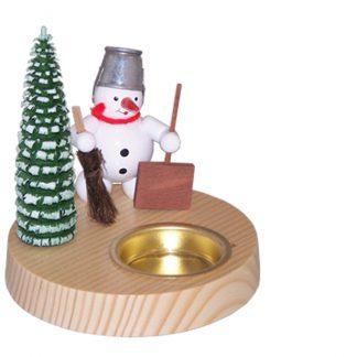 Teelichtkerzenhalter Schneemann mit Schippe-0