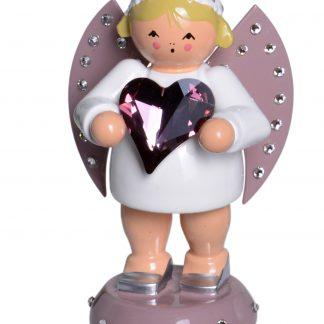 Engel Glücksbote mit pinkem Swarovski-Herz und Sockel *limitiert*-0